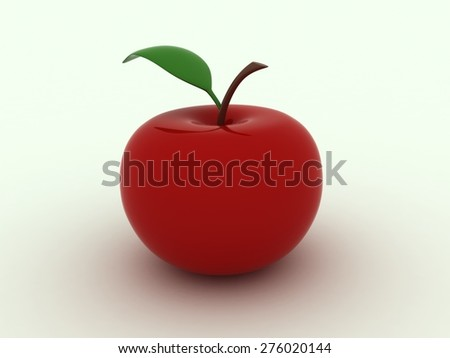Isolated image of red juicy apple - stock photo