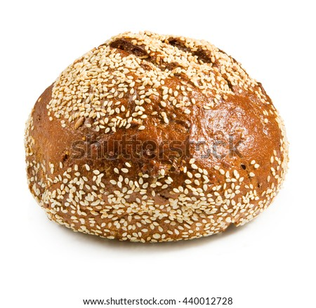 isolated image of round bread close-up