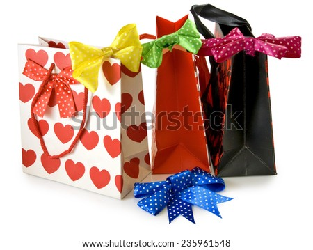 Isolated image of shopping bags closeup - stock photo