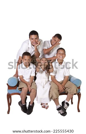 Isolated Image of Three Brothers and a Sister - stock photo