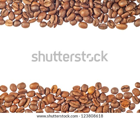 Isolated image of two strips from coffee beans - stock photo