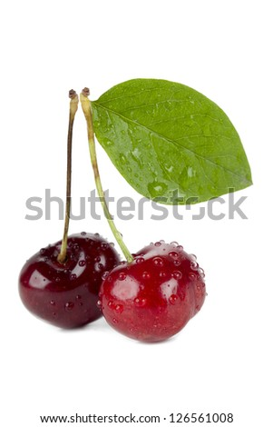 Isolated image of two sweet cherries with water droplets