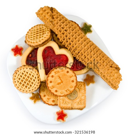 Isolated image of various delicious cookies on a white background - stock photo