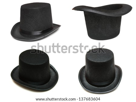 isolated image of various view of top hat - stock photo