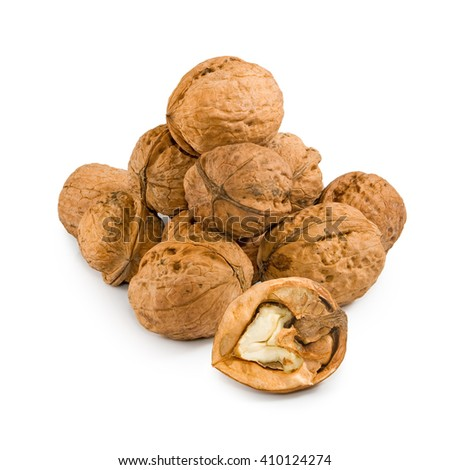 Isolated image of walnuts on a white background close up  - stock photo