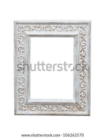 Isolated image of white photo frame - stock photo