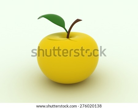 Isolated image of yellow juicy apple - stock photo