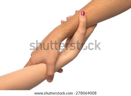Isolated image with human hand shows gestures - stock photo