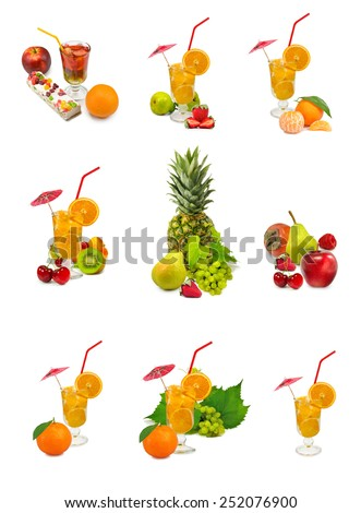 isolated images of fruit cocktail and fruits - stock photo