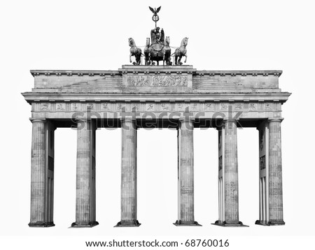 Isolated in black and white, on white background, the famous landmark of berlin, germany, the brandenburger tor - stock photo