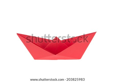 isolated in white boats made of folded colored paper