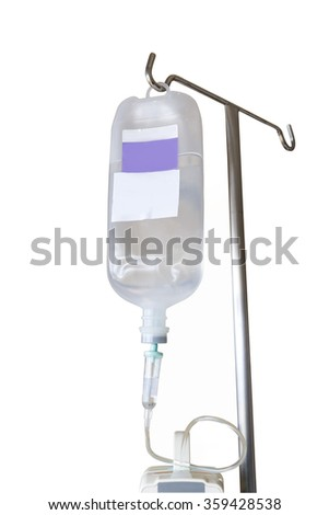 Isolated infusion pump and IV hanging on pole with clipping path - stock photo