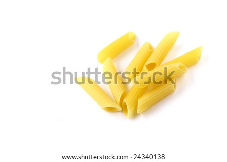 Isolated italian pasta (pennette)