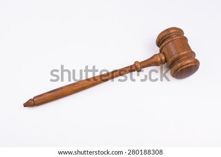isolated Judge's wooden gavel