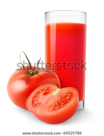Isolated juice. Glass of tomato juice and cut tomatoes isolated on white background