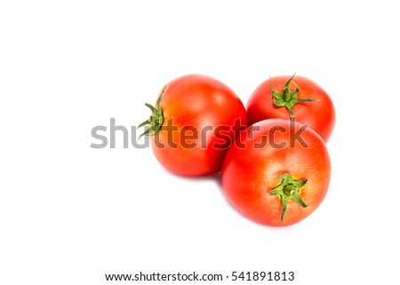 Isolated ketchup ingredients. Cut tomatoes and red hot chili pepper isolated on white background