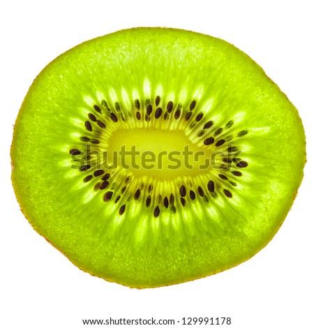 Isolated kiwi fruit slice - stock photo