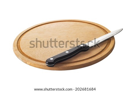 Isolated knife on cutting board on white background - stock photo