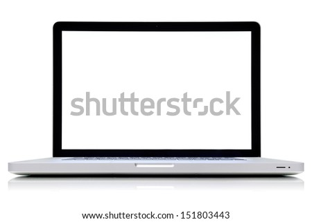 isolated laptop retouched with blank space in white background