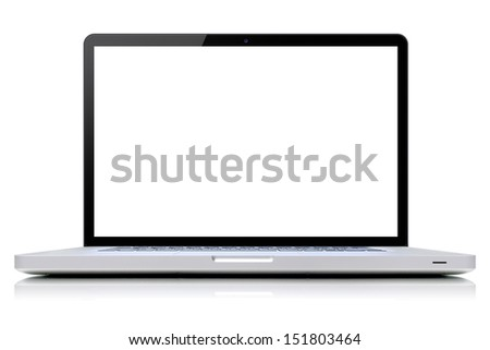 isolated laptop retouched with blank space in white background - stock photo