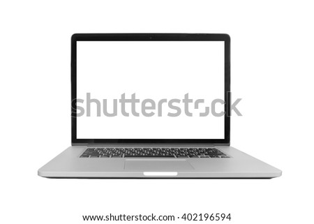 isolated laptop with blank space on white background
