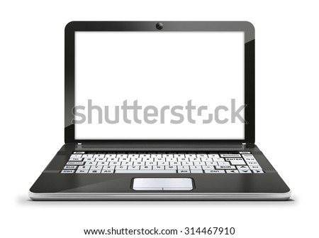 isolated laptop with empty blank white screen electronics object on white background technology illustration - stock photo