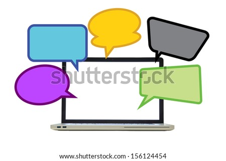 isolated laptop withquote bubble in white background