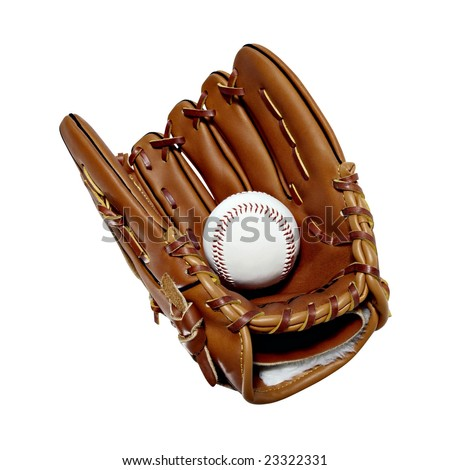 Isolated leather baseball mitt and ball