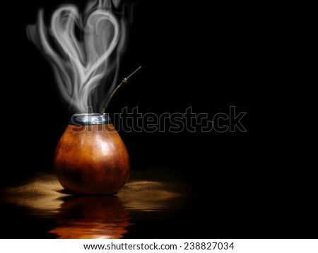Isolated Leather Mate Cup with pairs look like heart - stock photo