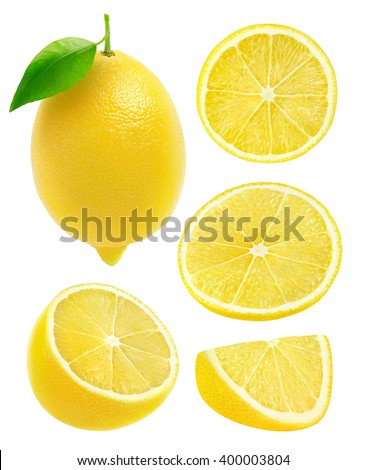 Isolated lemons. Collection of whole and cut lemon fruits isolated on white background with clipping path - stock photo