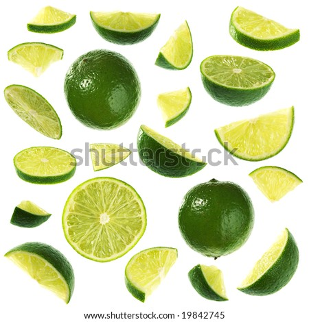 Isolated limes collection - stock photo