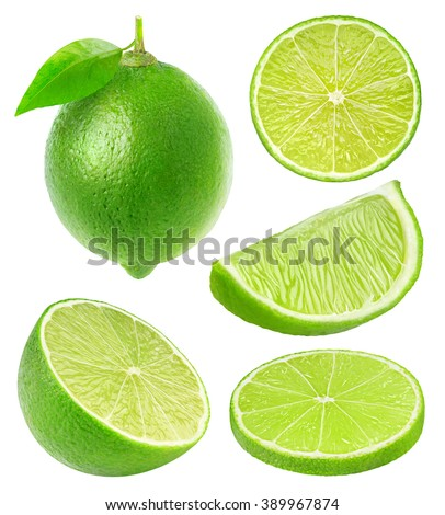 Isolated limes collection. Whole lime fruit and slices isolated on white background with clipping path - stock photo
