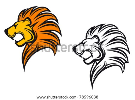 Isolated lion head as a heraldic symbol or sign, such logo. Vector version also available in gallery - stock photo