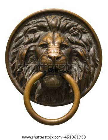 Isolated lion's head with a ring in his mouth.