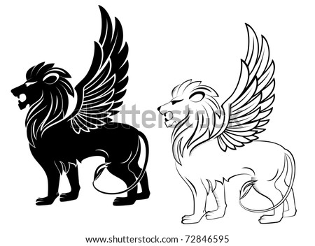 Isolated lion with wings for heraldry design - also as emblem. Vector version also available in gallery - stock photo