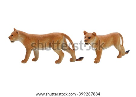 Isolated lioness toy photo. Isolated lioness toy side and angle view photo.