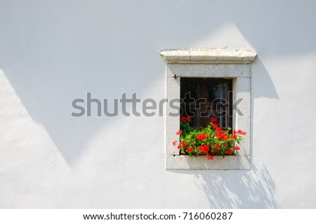 isolated little window with red flowers on the white facade, minimalism, architecture detail