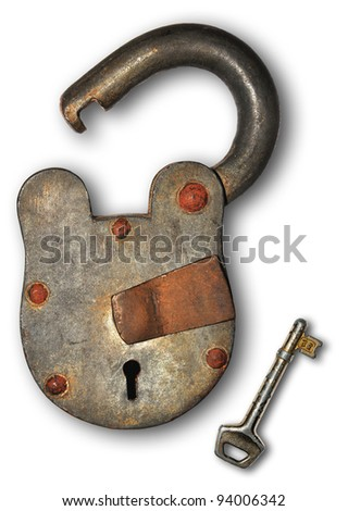 Isolated lock and key - stock photo