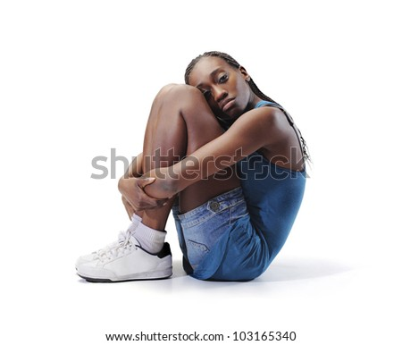 Isolated lonely african young woman