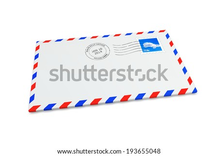 Isolated mail envelope with postage stamp and postmark