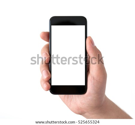 Isolated male hand holding a black phone with white screen