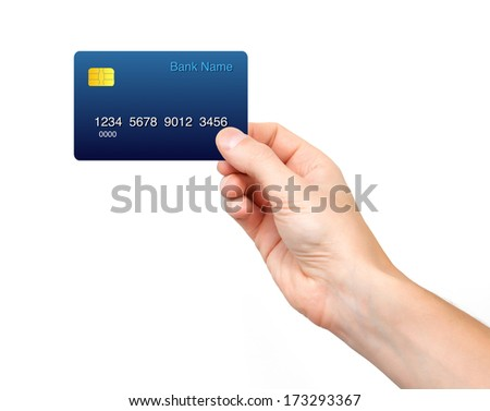 Isolated male hand holding a credit card