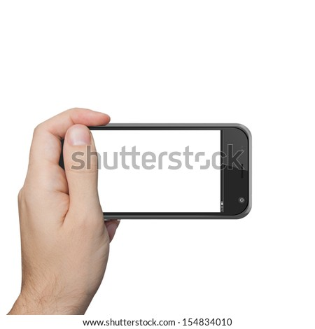 isolated male hand holding the phone similar to iphone tablet touch computer gadget.
