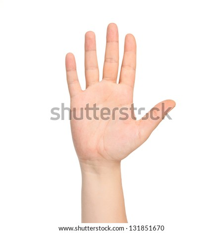 isolated male hand showing the number five - stock photo