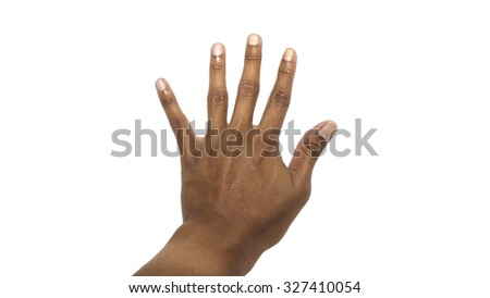Isolated male hands express emotions - stock photo