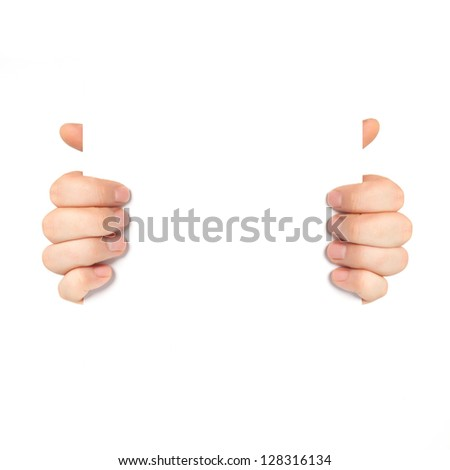 Isolated male hands holding a piece of paper or some object - stock photo