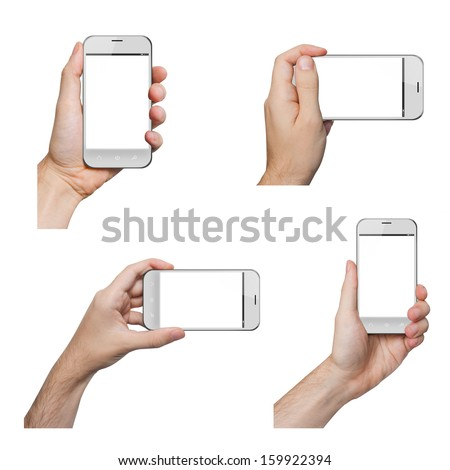 Isolated male hands holding a white phone similar to iphone in different ways - stock photo