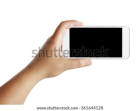 Isolated male hands holding the phone in white background