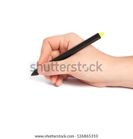 isolated man hand holding a black pencil and something draws or writes