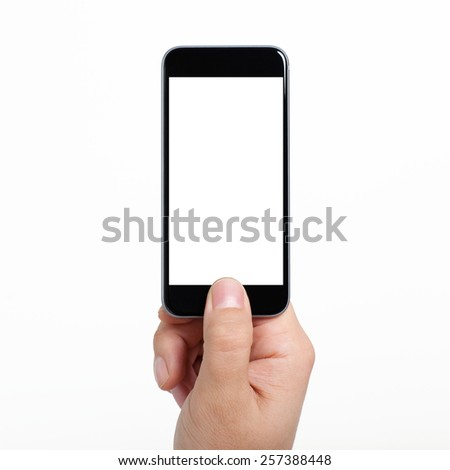 isolated man hand holding a black phone with a white screen - stock photo